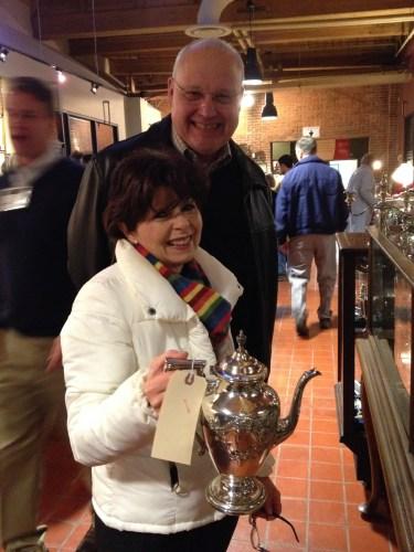 Ben & Nancy Davidson had their eye on a silver teapot