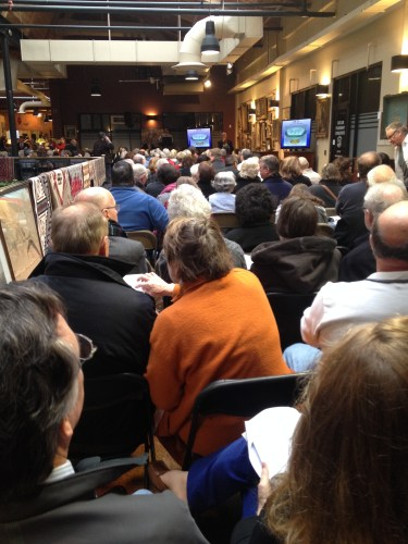 Attendees packed into Cherokee Mills for the Case Antiques auction on January 25, 2014
