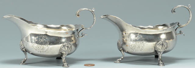 Pair of silver sauce boats by Fueter at Case Antiques Auction.  Estimate: $3,000