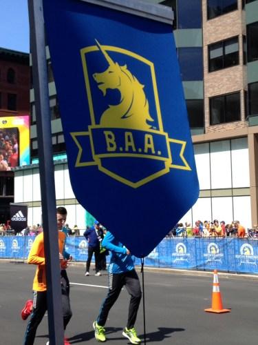 BAA Banner near finish line, Boston Marathon