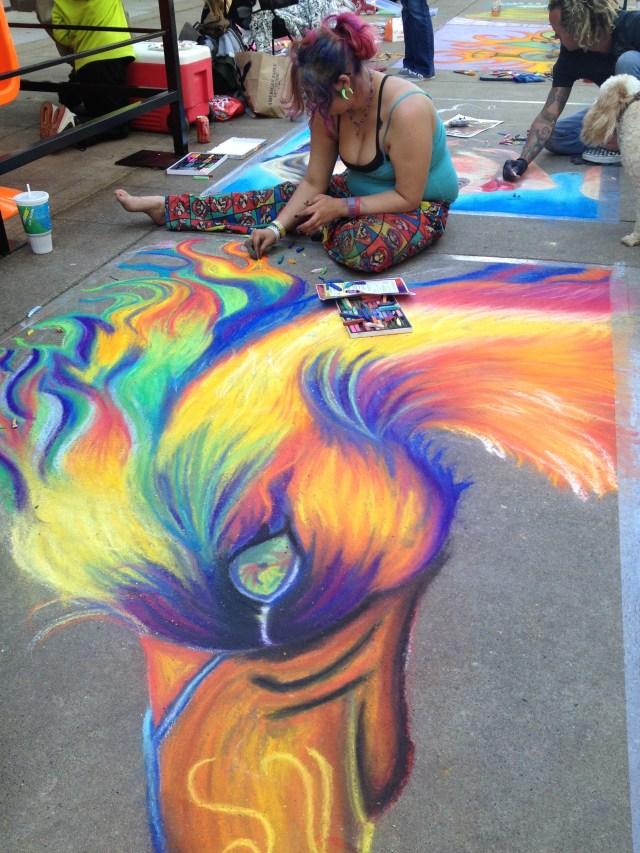 Chalk Walk: Colorful bird