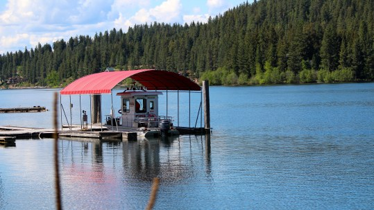 Red-topped shelter on Lake Coeur d'Alene