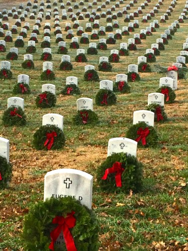 Graves with wreaths in East Tennessee State Veterans Cemetery