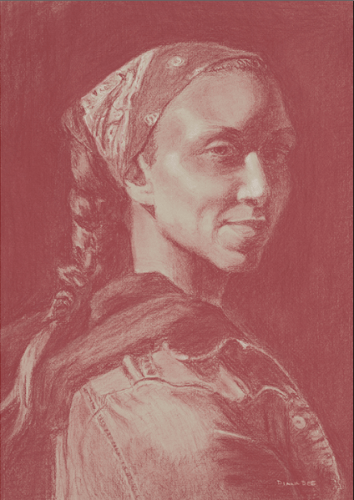 The Bandana by Diana Dee.  Pastel Pencil.