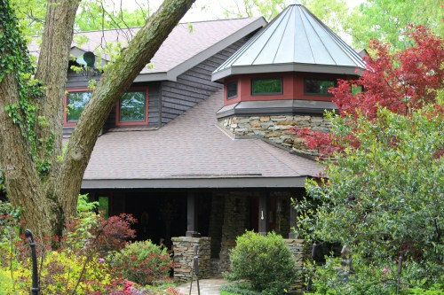 Lovely craftsman-style home of Dr. Alan Solomon blends in with its surroundings.