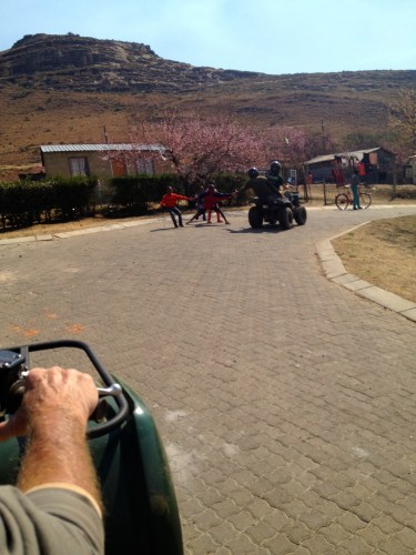 Trying to high-five the kids of Clarens.
