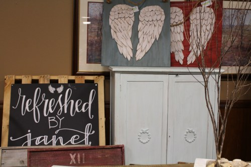 Farmhouse and industrial chic items from the Refreshed by Janet booth.