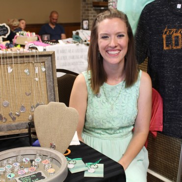 Joanna Tinker used a lot of burlap in her display of handmade jewelry.