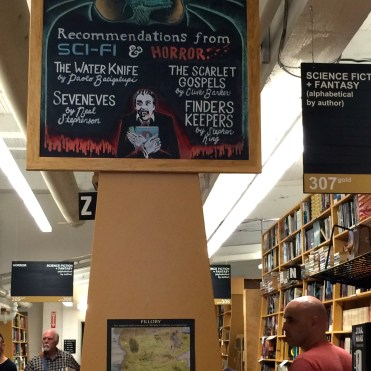 Recommendations and locations are posted on chalkboards throughout Powell's Books in Portland, OR.