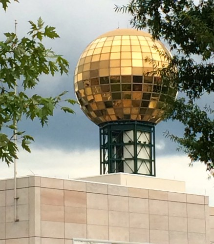 A gleaming Sunsphere in Knoxville, Tennessee