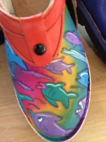 """Handcrafted, hand-tooled shoes looked comfy and """"cool""""!"""