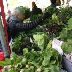 A Saturday market offered fresh greens by the bundle!