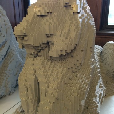 Lego likeness of Patience, one of the lions at New York Public Library