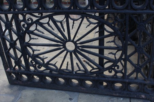 Detail of ironwork gate, French Quarter
