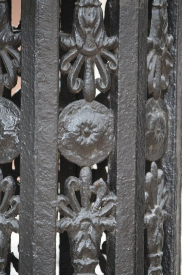 An up close look at beautiful ironwork in New Orleans' French Quarter.