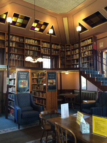 Floor-to-ceiling shelves offer plenty of space for books in the Rice Public Library.