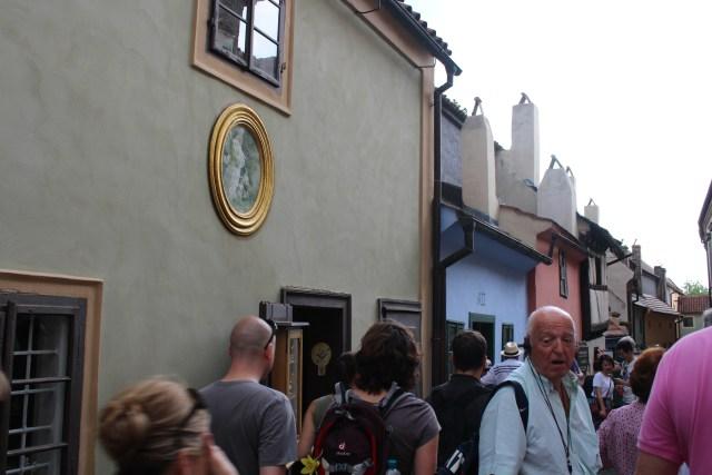 Crowds of tourists at Golden Lane, Prague
