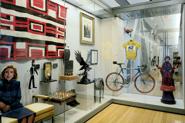 Gifts from around the world to Bill & Hillary Clinton line the upstairs walls of the Clinton Presidential Library.