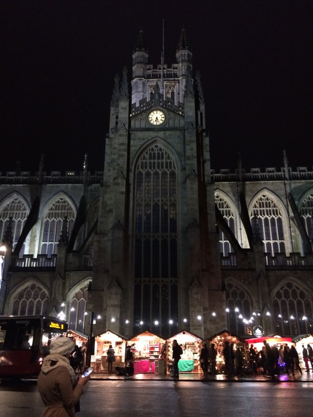 Glowing in the dark, Christmas Markets at the base of Bath Abbey.