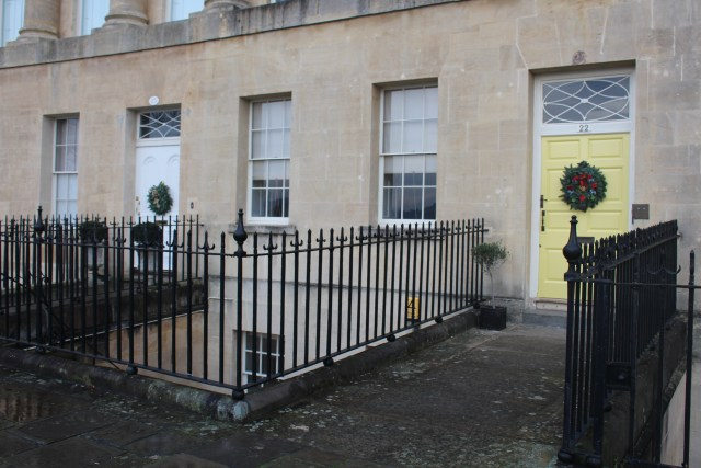 The famous Yellow Door at Number 22, Royal Crescent, Bath, England