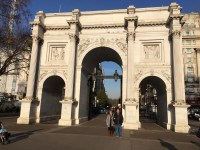 Standing in front of Marble Arch.
