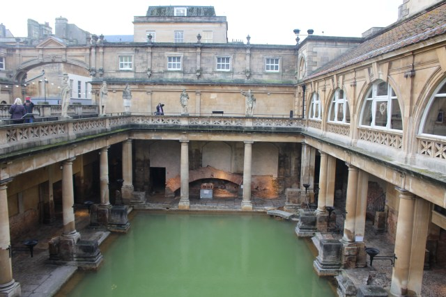 Looking into the Great Bath at England's Roman Baths.