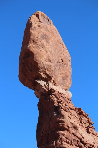 A closer view allows you to see various layers and textures of Balanced Rock.