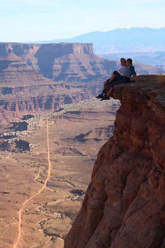 Just like the commercials: lovers sealing it with a kiss in Canyonlands!