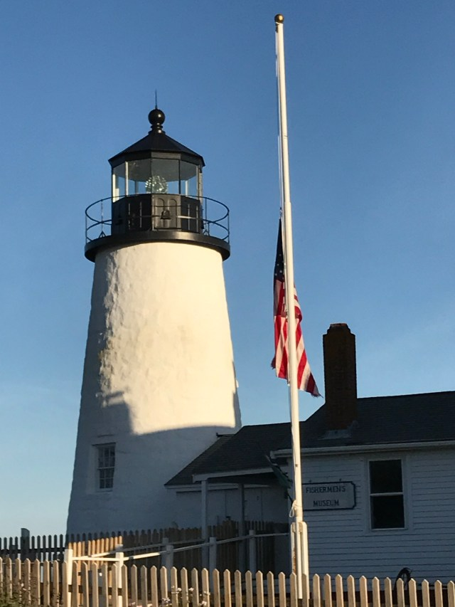 Pemaquid Light with flag at half staff to honor those massacred in Las Vegas, October 20, 2017.
