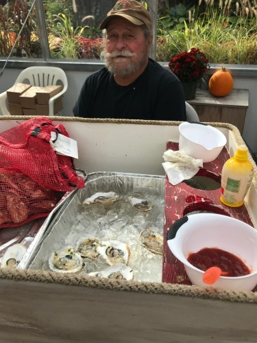 Passing our free samples of local oysters on the half shell.  Oh, my.
