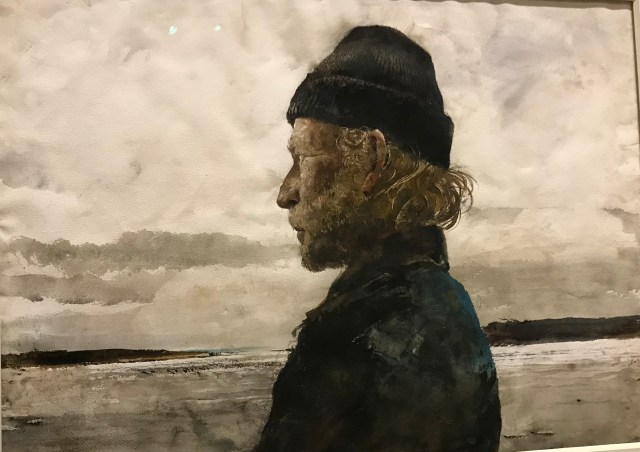"""Profile portrait of Walt Anderson.  Watercolor on paper.  Notable:  Wyeth """"dug"""" into the paper to define individual hairs on the face and the white upper tip of the ear."""