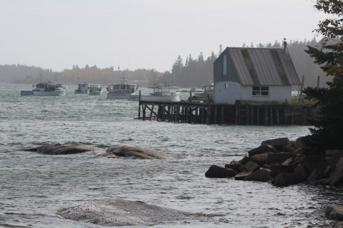 Small house in Stonington Harbor on a gray, lonely day.