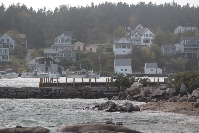 Gray day in Stonington, Maine, with almost no one in sight.