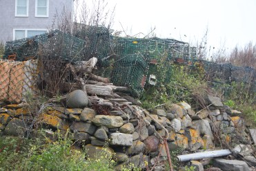 Been there a while -- lobster traps and boulders on Monhegan.
