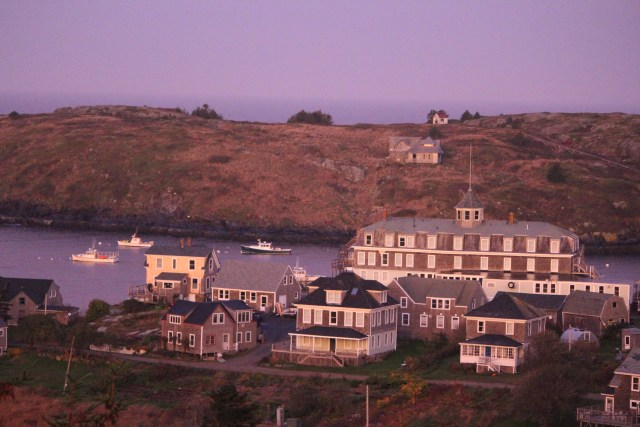 Sunrise on The Island Inn from Monhegan Island Light