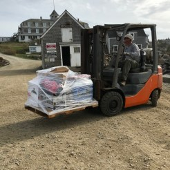 Unloading the pallets: the dock at Monhegan