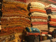 Rugs stacked to the ceiling: Marrakech medina