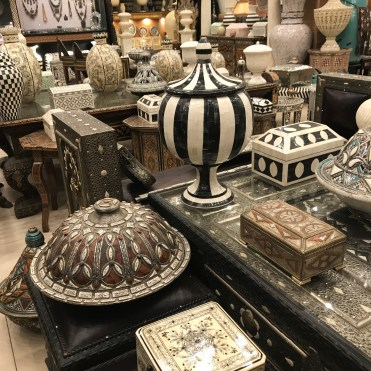 A home decor shop offered some of the finest pieces in the medina: inlaid tiles, carved wood tables, vases, bowls, and candlesticks.