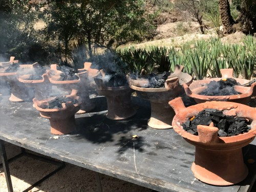 Individual cookers for tagine cooking class.