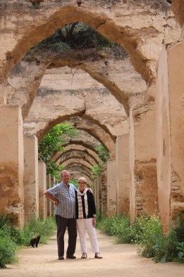 We've been photo bombed -- by a cat in Meknes, Morocco. Oh, well.