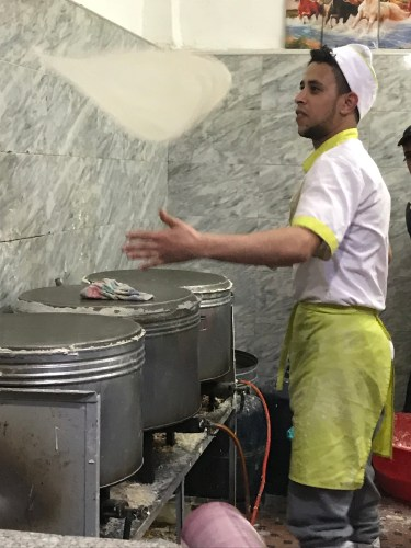 Spinning werqa dough for making pastilla.