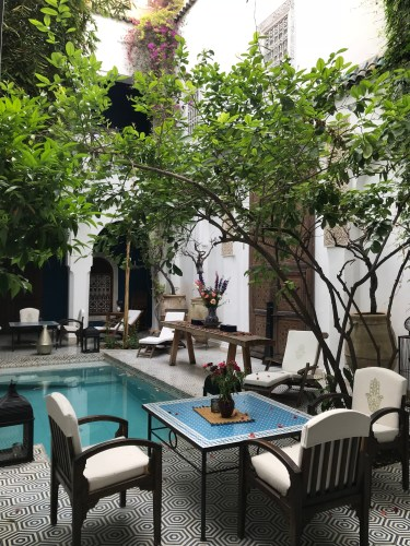 Places for relaxation, sipping mint tea, and swimming -- all in the courtyard at Riad Les Yeux Bleus.