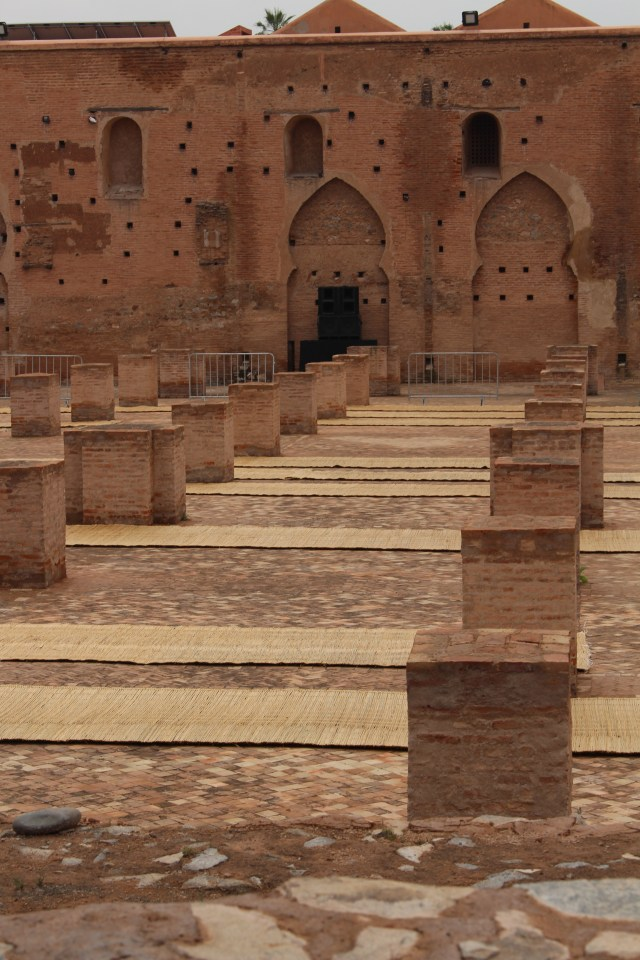 Mats laid out for the Call to Prayer at Koutoubia Mosque, Marrakech