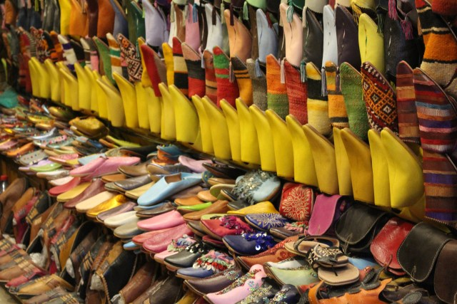 All lined up: Yellow shoes in the Marrakech medina