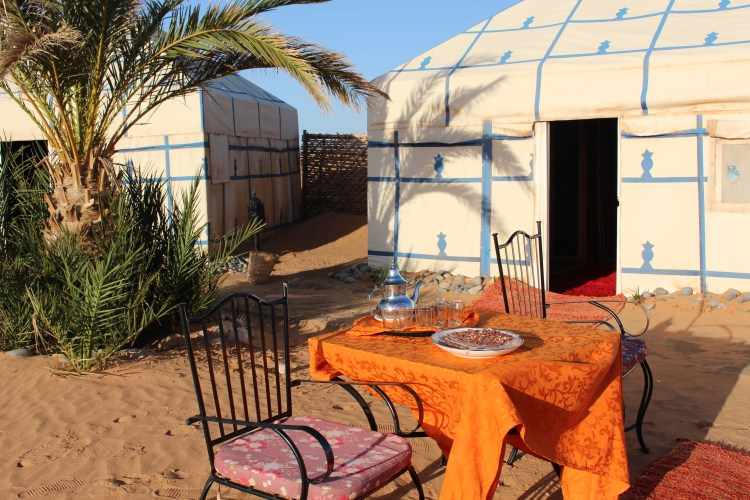 With mint tea and cookies in front and luxury behind the door, we approached our tent in the Sahara.