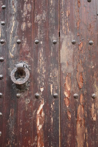 Detail of a heavy door in the Chefchaouen kasbah.