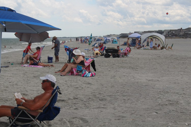 Beachgoers at Pawleys Island SC 2020
