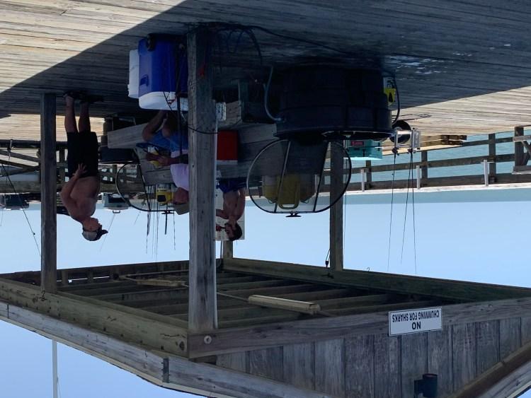 Fishermen gathered at Pawleys Pier