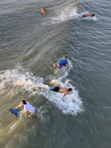 Waves, Surfers at Pawleys Island SC