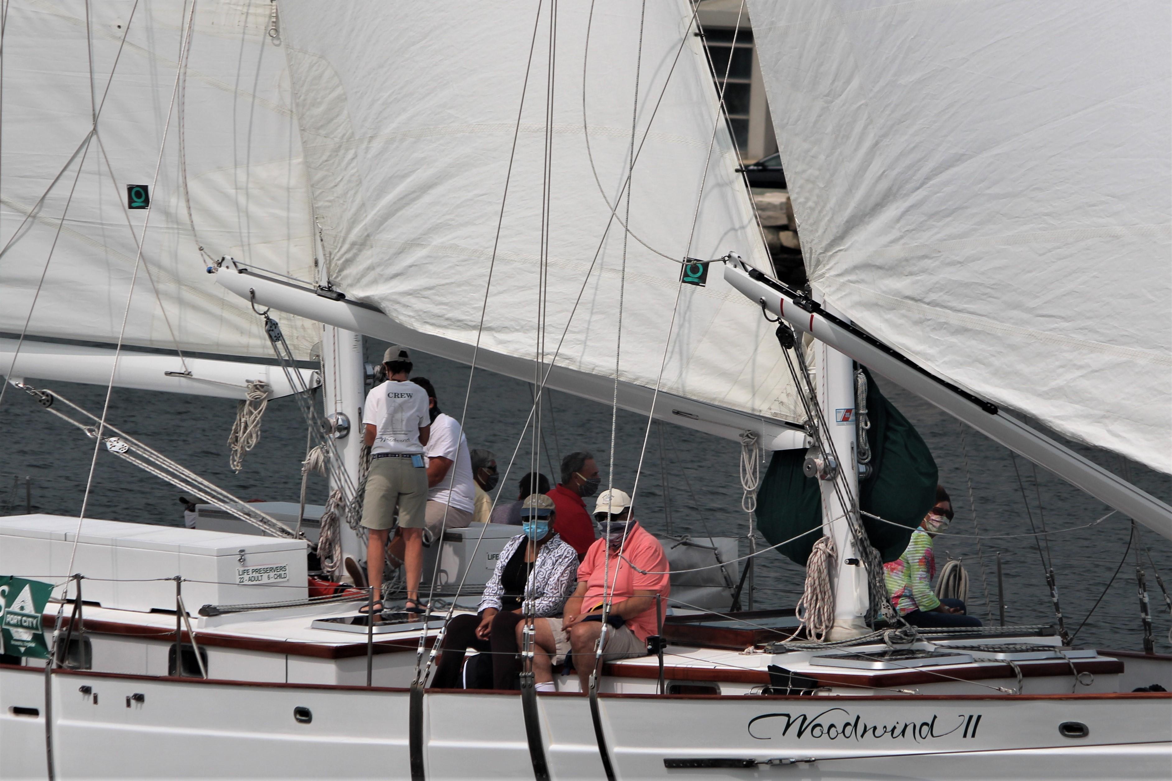 Masked passengers sailing on Chesapeake Bay